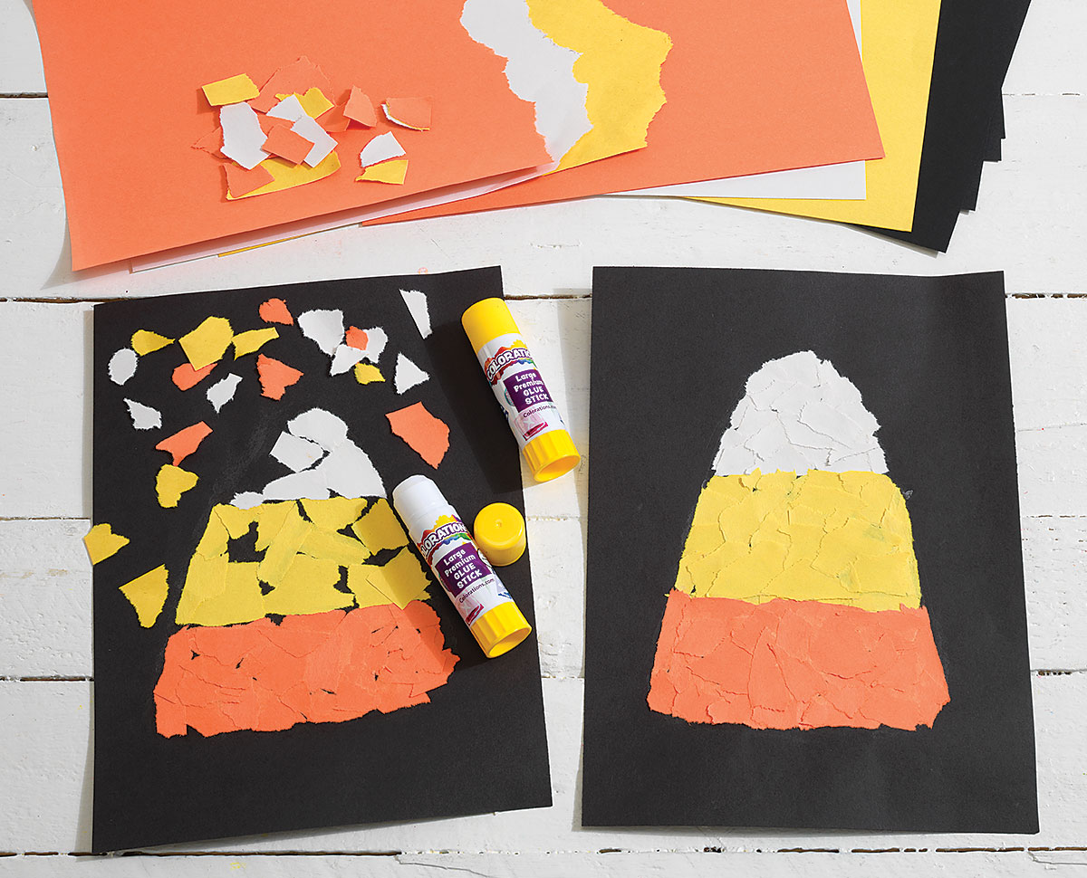 Torn Paper Candy Corn Creative Craft Activity for Halloween